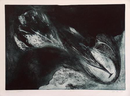 Jáger István: Kitörés, 2003, papír, aquatinta, 50x70 cm