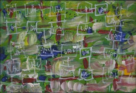 Szlabey Zoltán: Cím nélkül, 2001, vászon, olaj, 20x28 cm