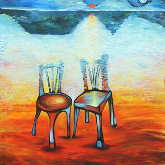Lengyel Zsüliett: Cím nélkül, vászon, akril, 100x100 cm