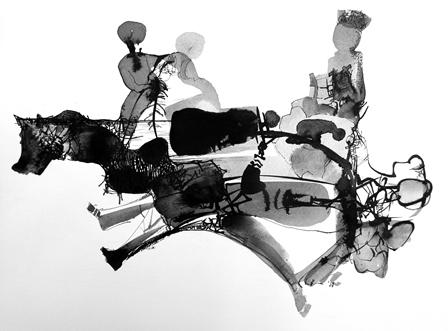 Lőrincz Róbert: Hintaló, 2013, papír, lavírozott tus, 50x70 cm