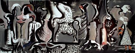 Debreceni Nemzetkozi Muvesztelep_Muvek_Burai Istvan_Beszelo allatok 2008 v akril 120x300 cm