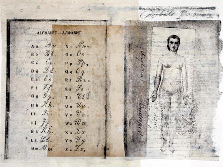 Debreceni Nemzetkozi Muvesztelep_Muvek_Jesseca Ferguson_Nő_ ábécé_2008_papir litográfia kollazs 25x35 cm
